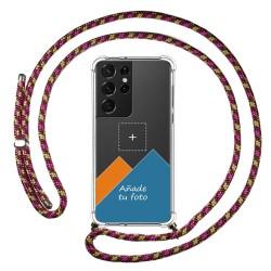 Personaliza tu Funda Colgante Transparente para Samsung Galaxy S21 Ultra 5G con Cordon Rosa / Dorado Dibujo Personalizada