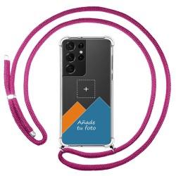 Personaliza tu Funda Colgante Transparente para Samsung Galaxy S21 Ultra 5G con Cordon Rosa Fucsia Dibujo Personalizada