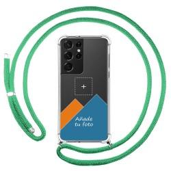Personaliza tu Funda Colgante Transparente para Samsung Galaxy S21 Ultra 5G con Cordon Verde Agua Dibujo Personalizada