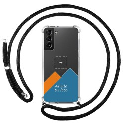 Personaliza tu Funda Colgante Transparente para Samsung Galaxy S21+ Plus 5G con Cordon Negro Dibujo Personalizada