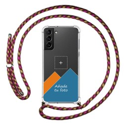Personaliza tu Funda Colgante Transparente para Samsung Galaxy S21+ Plus 5G con Cordon Rosa / Dorado Dibujo Personalizada