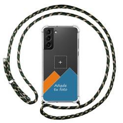 Personaliza tu Funda Colgante Transparente para Samsung Galaxy S21+ Plus 5G con Cordon Verde / Dorado Dibujo Personalizada