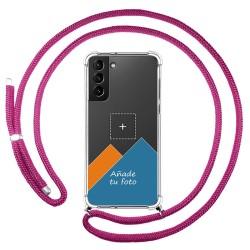 Personaliza tu Funda Colgante Transparente para Samsung Galaxy S21+ Plus 5G con Cordon Rosa Fucsia Dibujo Personalizada