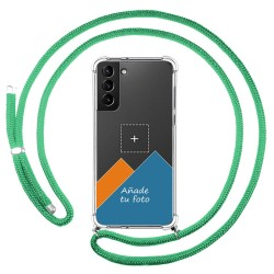 Personaliza tu Funda Colgante Transparente para Samsung Galaxy S21+ Plus 5G con Cordon Verde Agua Dibujo Personalizada