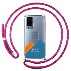 Personaliza tu Funda Colgante Transparente para Vivo X51 5G con Cordon Rosa Fucsia Dibujo Personalizada