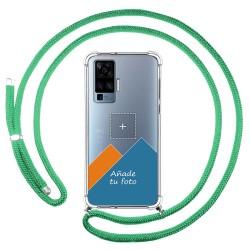 Personaliza tu Funda Colgante Transparente para Vivo X51 5G con Cordon Verde Agua Dibujo Personalizada