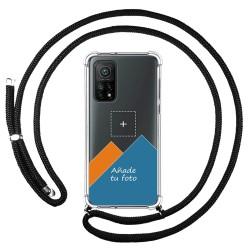 Personaliza tu Funda Colgante Transparente para Xiaomi Mi 10T 5G / MI 10T Pro 5G con Cordon Negro Dibujo Personalizada