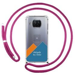 Personaliza tu Funda Colgante Transparente para Xiaomi Mi 10T Lite 5G con Cordon Rosa Fucsia Dibujo Personalizada