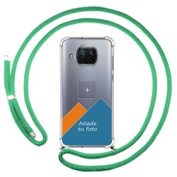 Personaliza tu Funda Colgante Transparente para Xiaomi Mi 10T Lite 5G con Cordon Verde Agua Dibujo Personalizada