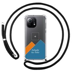 Personaliza tu Funda Colgante Transparente para Xiaomi Mi 11 5G con Cordon Negro Dibujo Personalizada