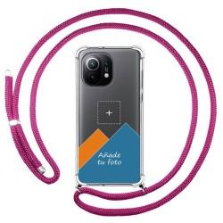 Personaliza tu Funda Colgante Transparente para Xiaomi Mi 11 5G con Cordon Rosa Fucsia Dibujo Personalizada