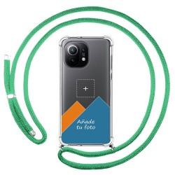 Personaliza tu Funda Colgante Transparente para Xiaomi Mi 11 5G con Cordon Verde Agua Dibujo Personalizada