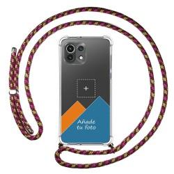 Personaliza tu Funda Colgante Transparente para Xiaomi Mi 11 Lite 4G / 5G con Cordon Rosa / Dorado Dibujo Personalizada