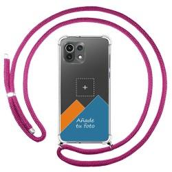 Personaliza tu Funda Colgante Transparente para Xiaomi Mi 11 Lite 4G / 5G con Cordon Rosa Fucsia Dibujo Personalizada