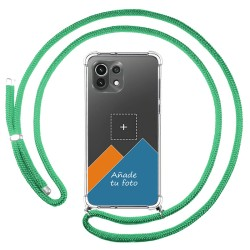 Personaliza tu Funda Colgante Transparente para Xiaomi Mi 11 Lite 4G / 5G con Cordon Verde Agua Dibujo Personalizada