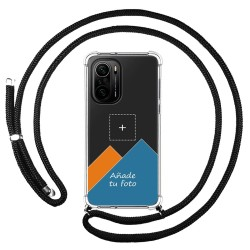 Personaliza tu Funda Colgante Transparente para Xiaomi POCO F3 5G / Mi 11i 5G con Cordon Negro Dibujo Personalizada