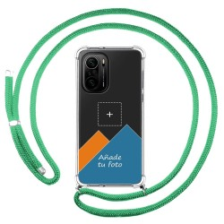 Personaliza tu Funda Colgante Transparente para Xiaomi POCO F3 5G / Mi 11i 5G con Cordon Verde Agua Dibujo Personalizada