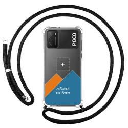 Personaliza tu Funda Colgante Transparente para Xiaomi POCO M3 / Redmi 9T con Cordon Negro Dibujo Personalizada