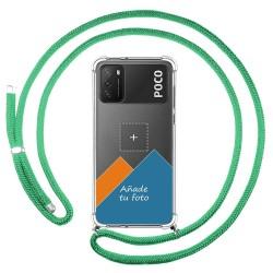 Personaliza tu Funda Colgante Transparente para Xiaomi POCO M3 / Redmi 9T con Cordon Verde Agua Dibujo Personalizada