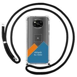 Personaliza tu Funda Colgante Transparente para Xiaomi POCO X3 NFC / X3 PRO con Cordon Negro Dibujo Personalizada