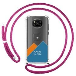 Personaliza tu Funda Colgante Transparente para Xiaomi POCO X3 NFC / X3 PRO con Cordon Rosa Fucsia Dibujo Personalizada