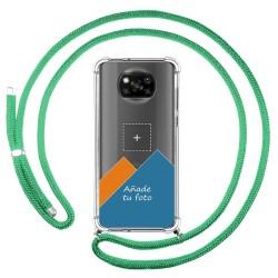 Personaliza tu Funda Colgante Transparente para Xiaomi POCO X3 NFC / X3 PRO con Cordon Verde Agua Dibujo Personalizada