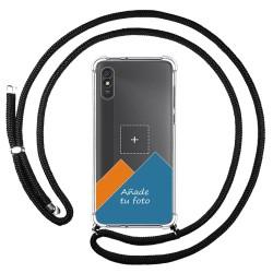 Personaliza tu Funda Colgante Transparente para Xiaomi Redmi 9A / 9AT con Cordon Negro Dibujo Personalizada