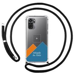 Personaliza tu Funda Colgante Transparente para Xiaomi Redmi Note 10 / 10S con Cordon Negro Dibujo Personalizada