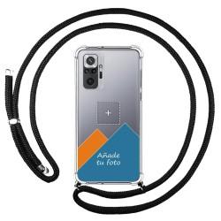 Personaliza tu Funda Colgante Transparente para Xiaomi Redmi Note 10 Pro con Cordon Negro Dibujo Personalizada