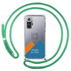 Personaliza tu Funda Colgante Transparente para Xiaomi Redmi Note 10 Pro con Cordon Verde Agua Dibujo Personalizada
