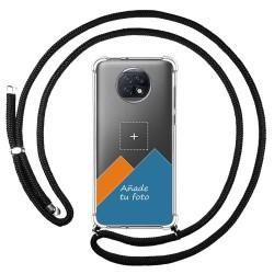 Personaliza tu Funda Colgante Transparente para Xiaomi Redmi Note 9T 5G con Cordon Negro Dibujo Personalizada