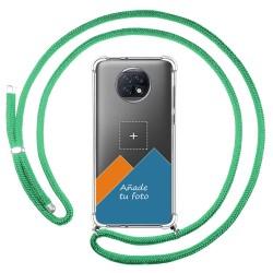Personaliza tu Funda Colgante Transparente para Xiaomi Redmi Note 9T 5G con Cordon Verde Agua Dibujo Personalizada