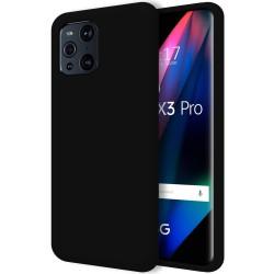 Funda Silicona Líquida Ultra Suave para Oppo Find X3 Pro 5G color Negra