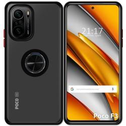 Funda Mate con Borde Negro y Anillo Giratorio 360 para Xiaomi POCO F3 5G / Mi 11i 5G
