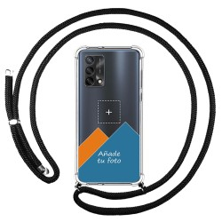 Personaliza tu Funda Colgante Transparente para Oppo A74 4G con Cordon Negro Dibujo Personalizada