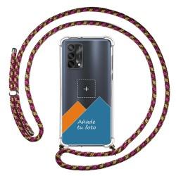 Personaliza tu Funda Colgante Transparente para Oppo A74 4G con Cordon Rosa / Dorado Dibujo Personalizada