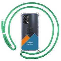 Personaliza tu Funda Colgante Transparente para Oppo A74 4G con Cordon Verde Agua Dibujo Personalizada