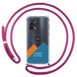 Personaliza tu Funda Colgante Transparente para Oppo A74 4G con Cordon Rosa Fucsia Dibujo Personalizada