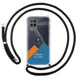 Personaliza tu Funda Colgante Transparente para Realme 8 5G / Narzo 30 5G con Cordon Negro Dibujo Personalizada