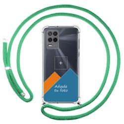 Personaliza tu Funda Colgante Transparente para Realme 8 5G / Narzo 30 5G con Cordon Verde Agua Dibujo Personalizada