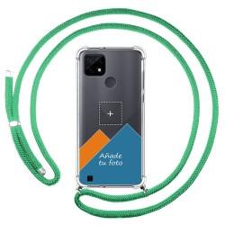 Personaliza tu Funda Colgante Transparente para Realme C21 con Cordon Verde Agua Dibujo Personalizada