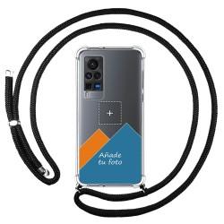 Personaliza tu Funda Colgante Transparente para Vivo X60 Pro 5G con Cordon Negro Dibujo Personalizada