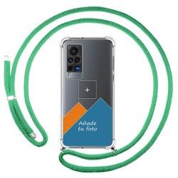 Personaliza tu Funda Colgante Transparente para Vivo X60 Pro 5G con Cordon Verde Agua Dibujo Personalizada