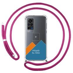 Personaliza tu Funda Colgante Transparente para Vivo X60 Pro 5G con Cordon Rosa Fucsia Dibujo Personalizada