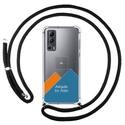 Personaliza tu Funda Colgante Transparente para Vivo Y72 5G con Cordon Negro Dibujo Personalizada