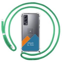 Personaliza tu Funda Colgante Transparente para Vivo Y72 5G con Cordon Verde Agua Dibujo Personalizada