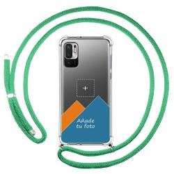 Personaliza tu Funda Colgante Transparente para Xiaomi Redmi Note 10 5G / POCO M3 PRO 5G con Cordon Verde Agua Dibujo