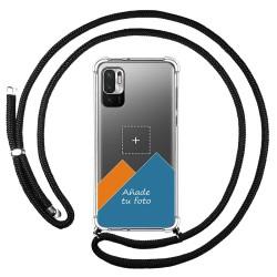 Personaliza tu Funda Colgante Transparente para Xiaomi Redmi Note 10 5G / POCO M3 PRO 5G con Cordon Negro Dibujo Personalizada