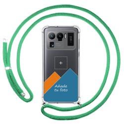 Personaliza tu Funda Colgante Transparente para Xiaomi Mi 11 Ultra 5G con Cordon Verde Agua Dibujo Personalizada