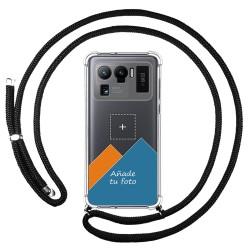 Personaliza tu Funda Colgante Transparente para Xiaomi Mi 11 Ultra 5G con Cordon Negro Dibujo Personalizada